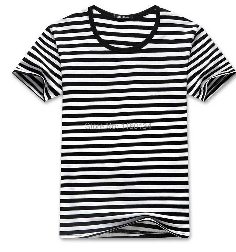 Mens black white striped shirt custom shirt for Mens white cotton t shirts