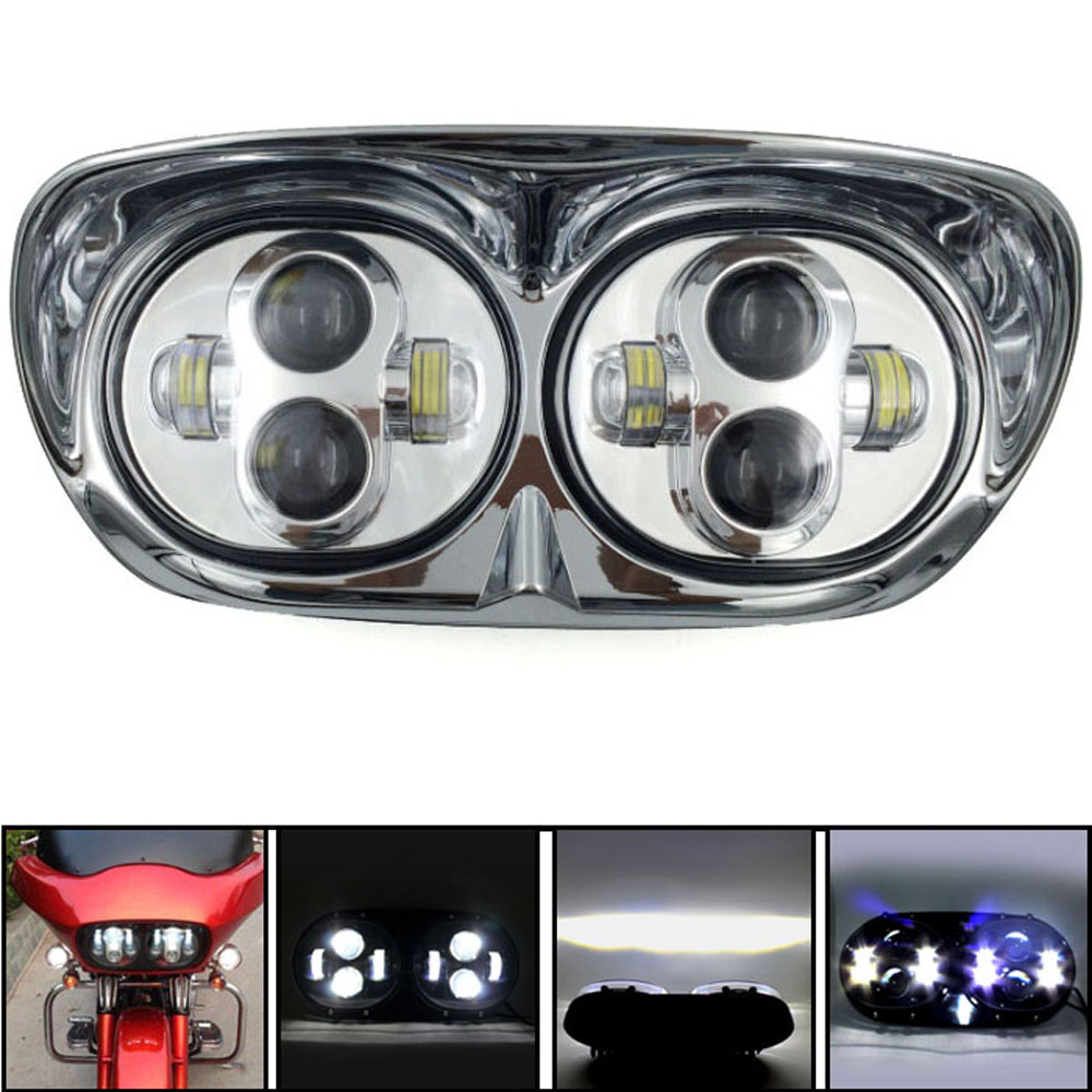 BJMOTO Chrome 5.75 Dual LED Motorcycle Headlight For Harley Road Glide 2004 2013 Projector Daymaker Hi&Lo 80W Headlamps