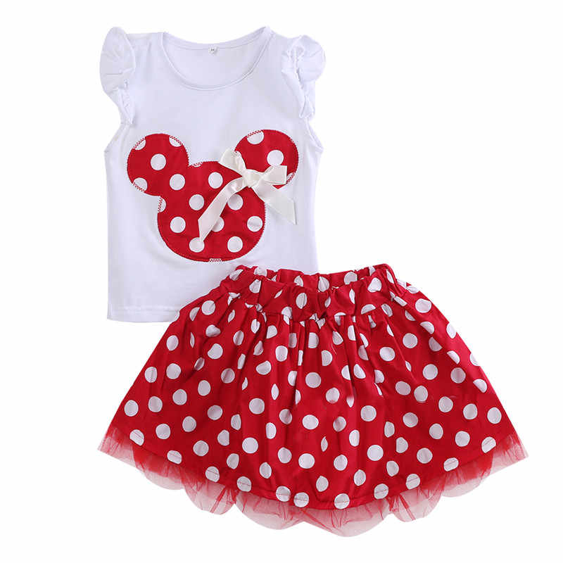 Sommer Kinder Baby Mädchen Kleidung Sets детская одежда Ärmelloses T-shirt Tops Polka Dot Tutu Rock Kleidung 2PCS Outfits 1-4Y