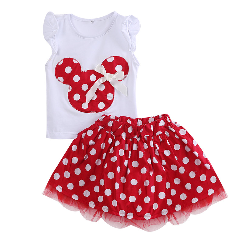 Summer Kids Baby Girl Clothes Minnie Mouse Sets Sleeveless T-shirt Tops Polka Dot Tutu Skirt Clothes
