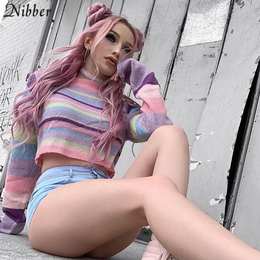 Nibber Autumn Harajuku Cute Sweet Pink Striped Sweater Women Thin Full Sleeve Tops Wild Slim Soft Short Knitting Tee Shirt Mujer