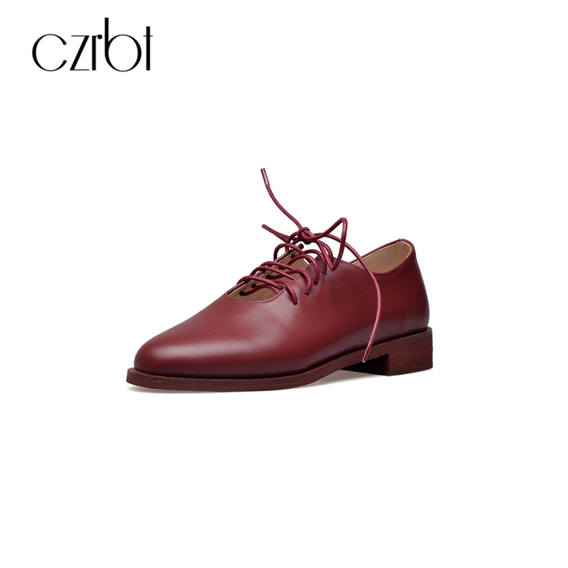 CZRBT Retro Oxfords Flats Autumn Women Shoes Cow Leather Lace-Up Casual Shoes Round Toe Solid Color Flat Shoes Apricot Black qmn women distressed brushed cow suede brogue shoes women round toe lace up oxfords shoes woman genuine leather flats