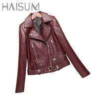 2017 New Fashion Spring Autumn Women Sheepskin Long Sleeve Coat Zipper Design Motorcycle Genuine Leather Jacket
