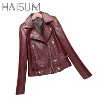 2017 New Fashion Spring Autumn Women Sheepskin Long Sleeve Coat Zipper Design Motorcycle Genuine Leather Jacket