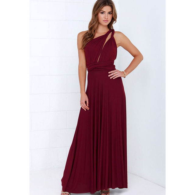 New Summer Sexy Women Maxi Dress Red Beach Long Dress Multiway Bridesmaids Convertible Wrap Party Dresses Robe Longue Femme 2018
