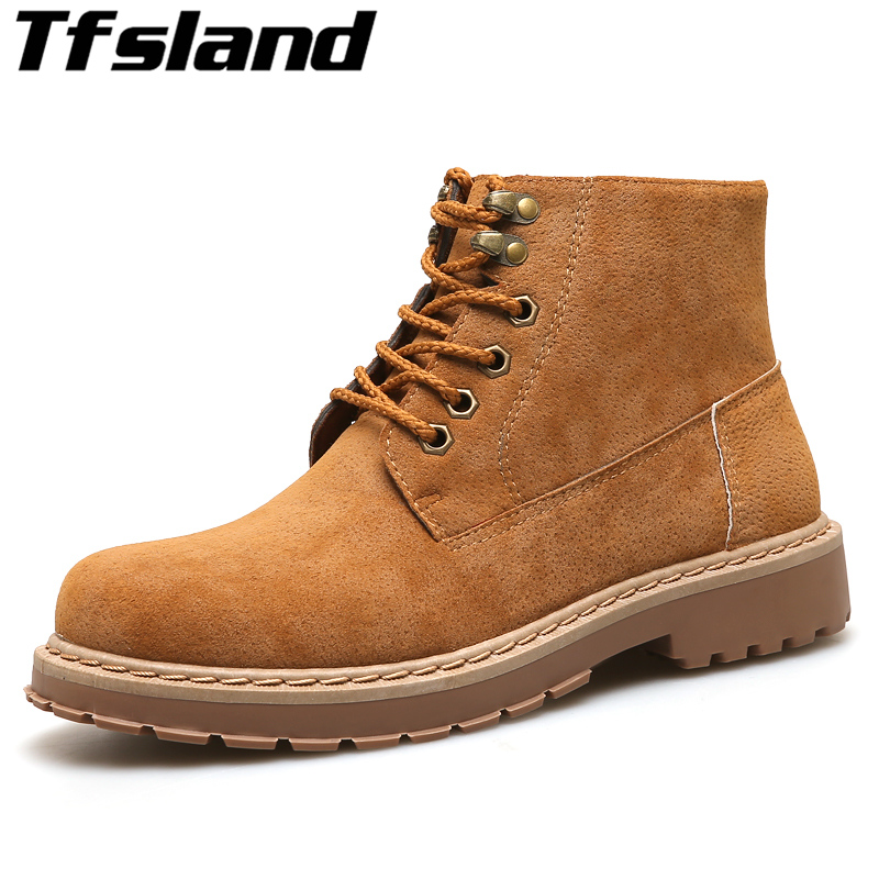 Tfsland Men Suede Leather Martin Boots Soft Mens Shoes Cotton Snow Boots Lace Up Tooling Short Boots Male Walking Shoes Sneakers