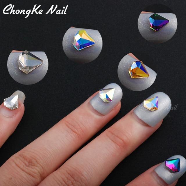 Hisenlee 10Pcs 7mm DIY Nail Art Decorations Glitter Rhinestones Glass Flame  Colorful AB Stones Diamond Shape For 3D Nails N10054 f56179ad3628