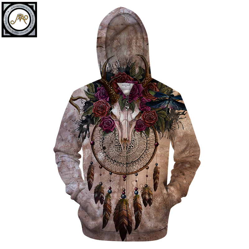 Skull dreamcatcher By SunimaArt 3D Print Hoodies Men Casual Sweatshirt Vintage Tracksuit Pullover ZipperJacket Coat 2018 New