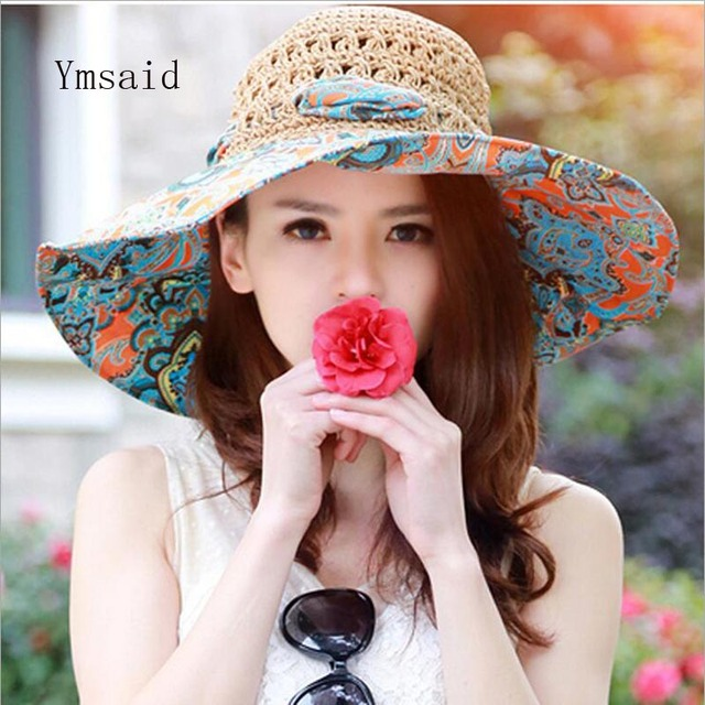 616ed9d8bc9 Ymsaid Summer Large Brim Beach Sun Hats Women UV Protection Women Caps With Big  Head Foldable Style Fashion Lady s Straw hat