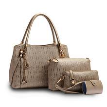 Nuevo 2016 mujeres bolso de cuero bolsos de mensajero de las mujeres bolsos de las señoras diseños de marca bolso bolsas Bolso + Bolso Del Mensajero + Bolso 3 Sets
