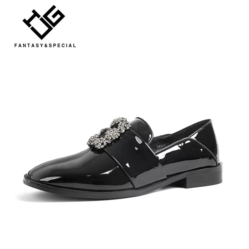 Britannique Rond Pour Cuir Femme pourpre Chaussures En Verni Les Plate Strass Ugi Vintage forme Noir Pu Chaussure 2018 Appartements Printemps Femmes ZY1q1Fnw6