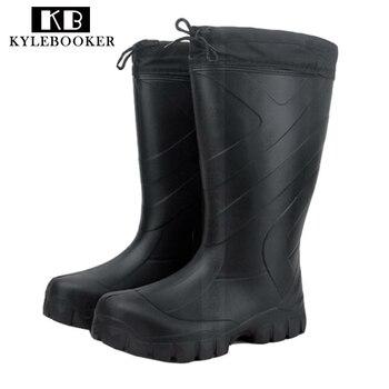Новые зимние мужские резиновые сапоги до середины икры, обувь для рыбалки, охоты, непромокаемые уличные резиновые сапоги