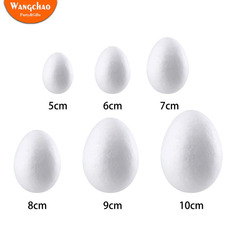 10pcs/bag Easter Handmade DIY Painting Egg Accessories White Foam Egg Easter Party Supplies Kids Gifts Favors Party Decorations