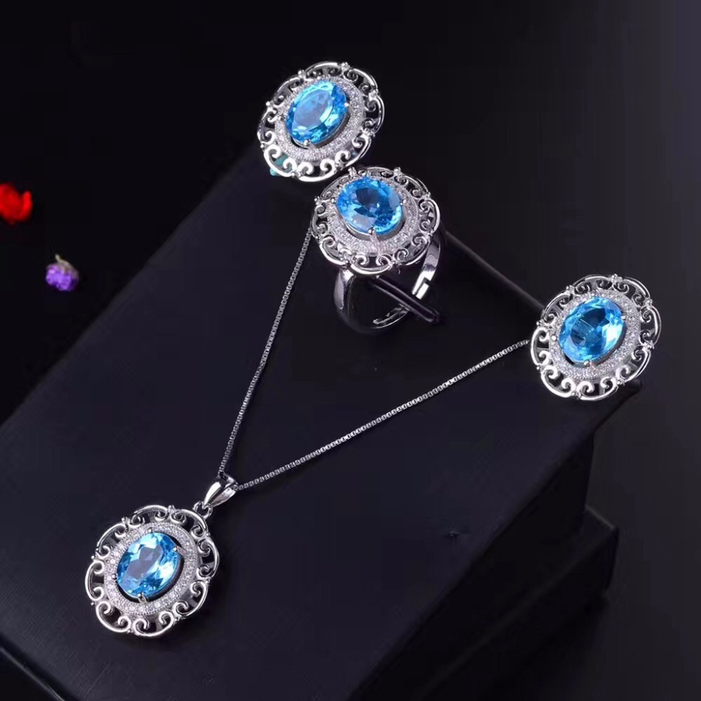 MeiBaPJ Natural Blue Topaz Jewelry Set 925 Pure Silver Ring Earrings Pendant Necklace 3 Suits Fine
