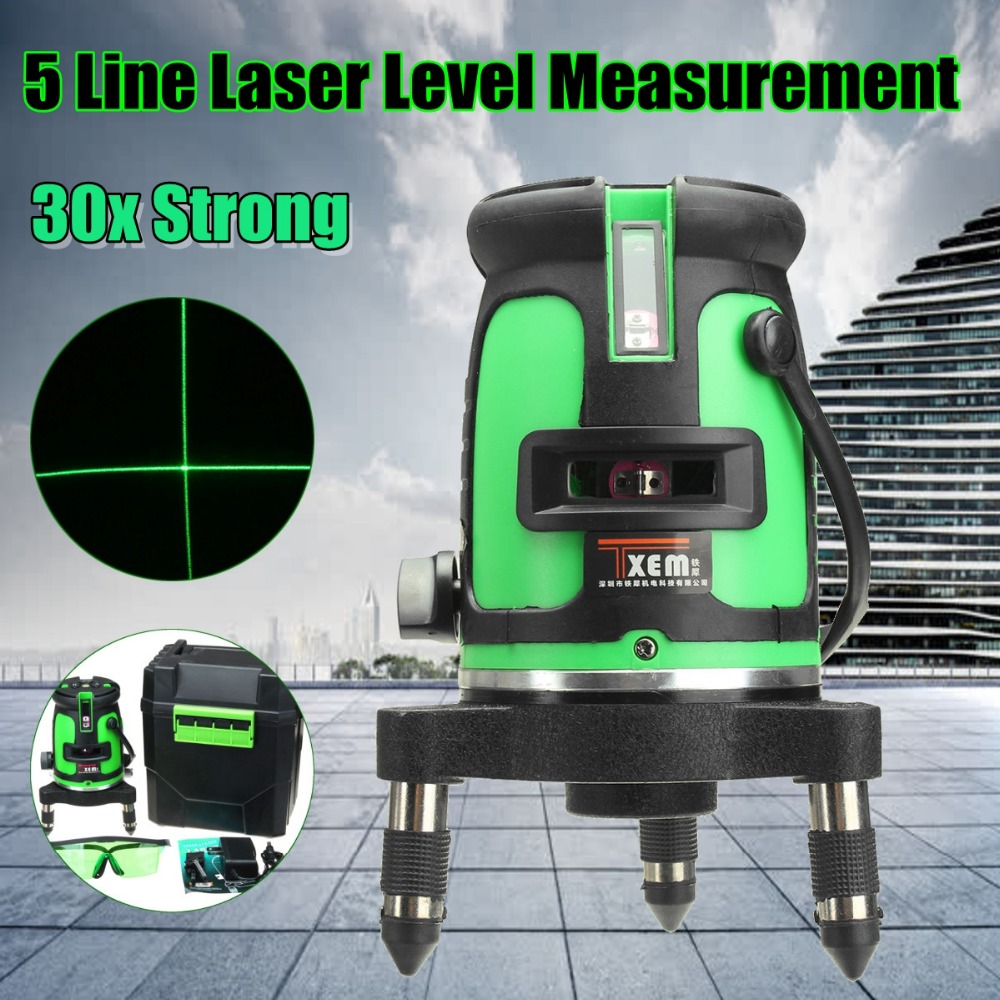 Green Beam Laser Level 5 Line Cross 30 Times Green Self Leveling 360 Degree Rotary Outdoor Measuring Lazer Level Tools