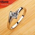Anillos de boda para Las Mujeres de Cristal Plateado CZ Diamond Joyería Chapado En Oro Rosa Anillo de Compromiso Anel Anéis Feminino J045