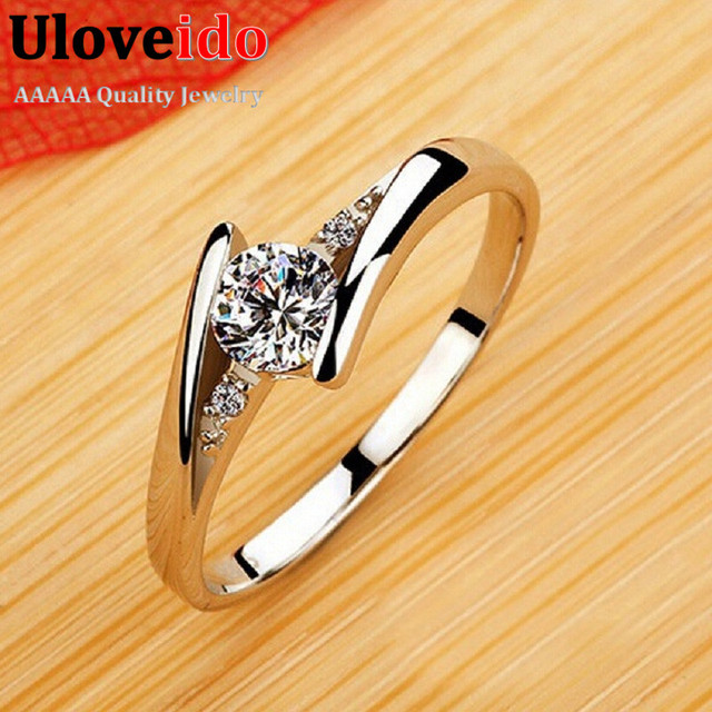 Wedding Rings for Women Crystal Silver Plated CZ Diamond Jewelry Rose Gold Plated Engagement Ring Anel Aneis Feminino J045