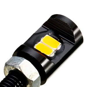 Image 4 - For Most Cars Motorcycles 2PCS Amber 2LEDS Motorcycle Car Number License Plate Light Screw Bolt Bulb Lamp 17 x 7mm Mayitr