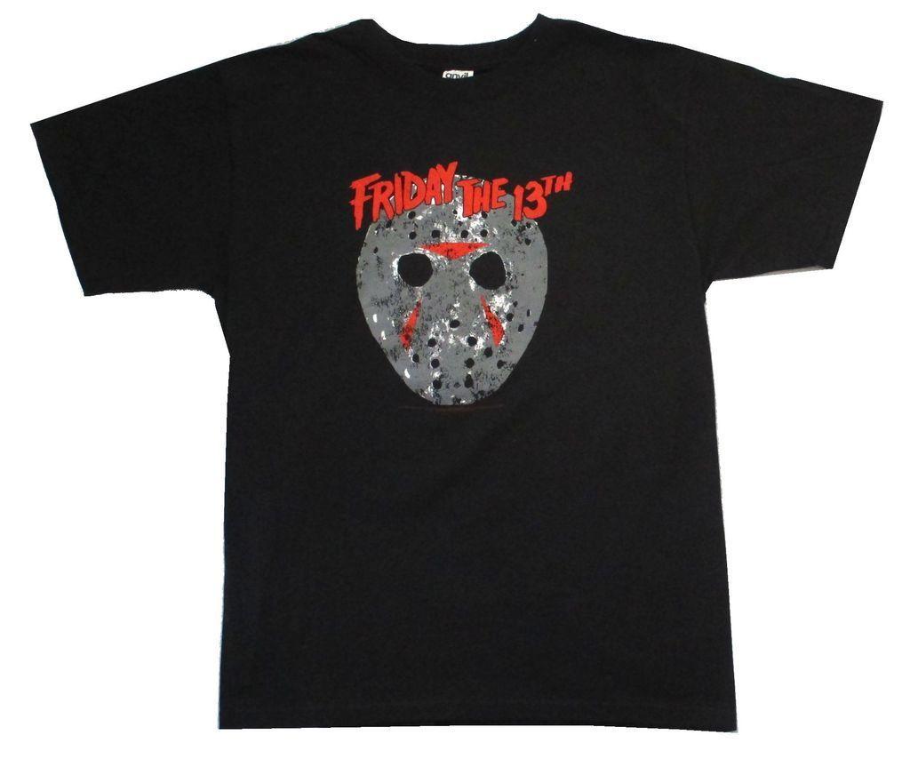Friday the 13th Classic Mask Jason Black T Shirt New Horror Slasher Movie