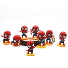 цена на 8Pcs/Set Mini Spider-Man Figure Superhero Spiderman Spider Man PVC Action Figure Toys 5cm Great Gift  Anime Figure
