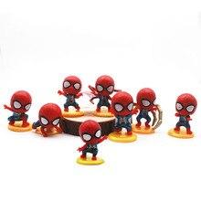 8Pcs/Set Mini Spider-Man Figure Superhero Spiderman Spider Man PVC Action Figure Toys 5cm Great Gift  Anime Figure цена