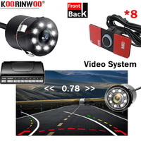 Koorinwoo Original 16.5mm Flat System Dual Visual Rearview Video Parking Sensors With Camera Dynamic Trajectory Guide Line Front