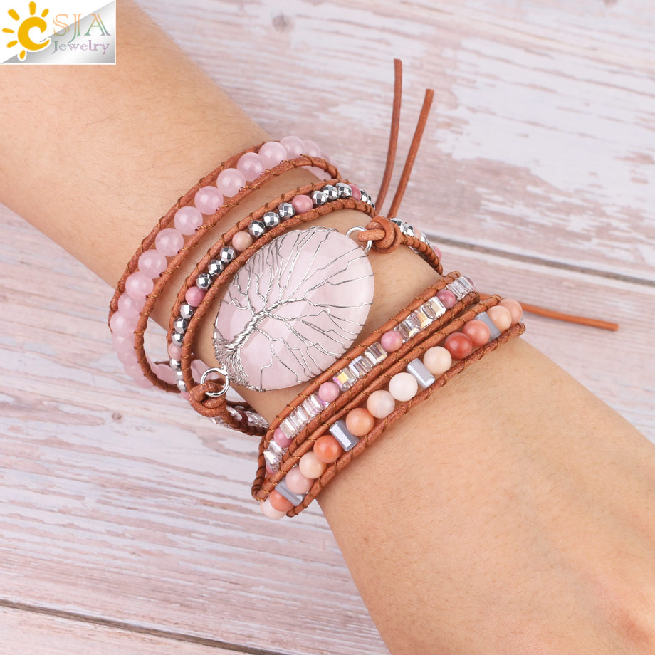 CSJA Tree of Life Women Jewelry Natural Pink Quartz Crystal Stone Charms Bracelet Leather Braided Gems Beads Wrap Bracelets S349CSJA Tree of Life Women Jewelry Natural Pink Quartz Crystal Stone Charms Bracelet Leather Braided Gems Beads Wrap Bracelets S349