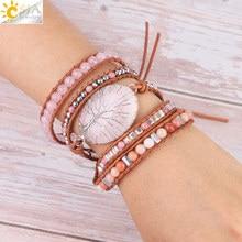 CSJA Tree of Life Women Jewelry Natural Pink Quartz Crystal Stone Charms Bracelet Leather Braided Gems Beads Wrap Bracelets S349 stylish tree of life owl braided bracelet