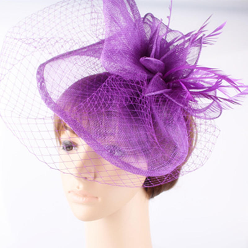 Elegant Sinamay Hats Nice Fascinators with Veil for Wedding Hats Bridal Hats Party Headwear Derby Cocktail Hats 21 Colors OF1543