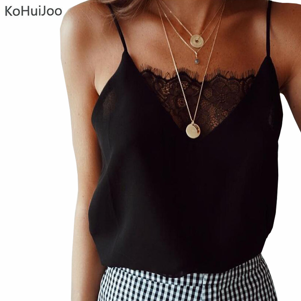 KoHuiJoo 2018 Sexy adjustable strap camisole tank top Women Casual Summer V Neck lace up cami Female Fashion lace camisole White