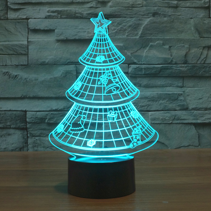 2016 christmas tree 3d unique lighting effects optical illusion decor led table lamp party festival lights child gifts - Unique Christmas Tree Lights