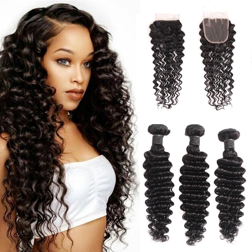 Brazilian Deep Wave Bundles with Closure 100% Human Hair Extensions with Closure Non-Remy 3 Bundles with Closure X-Elements Hair (16)