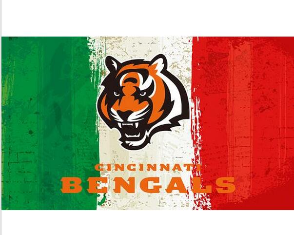 3x5ft Green white red Stripes Cincinnati Bengals flag new style oil painting style flag with 2 Metal Grommets 90x150cm