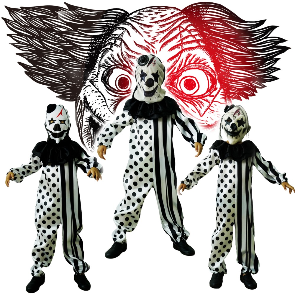 Boys Killer Clown Costumes Halloween Masquerade Party  Role Play Outfit  Children  With Mask Killer Disguise Party Sets