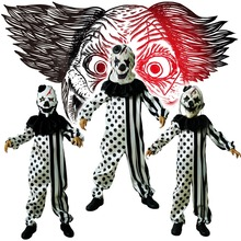 Boys Scary Clown Costumes Halloween Masquerade Party  Role Play Outfit  Children  with Mask Killer Disguise Party Sets