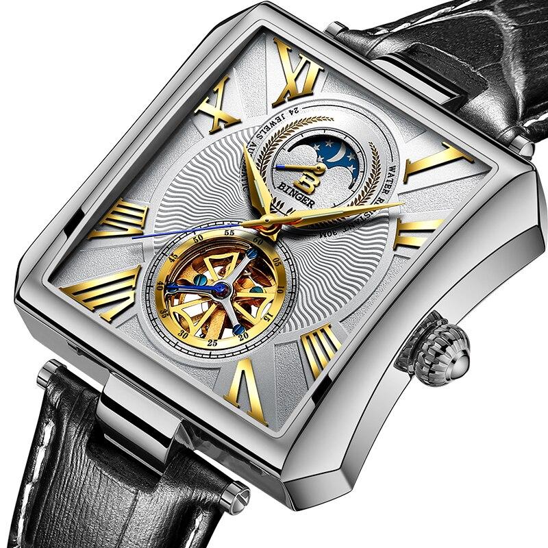 NOUVEAU Automatique Mécanique Montre Hommes Saphir Binger Marque De Luxe Montres Étanches Mâle Tourbillon montre-Bracelet Horloge B-5071M-1