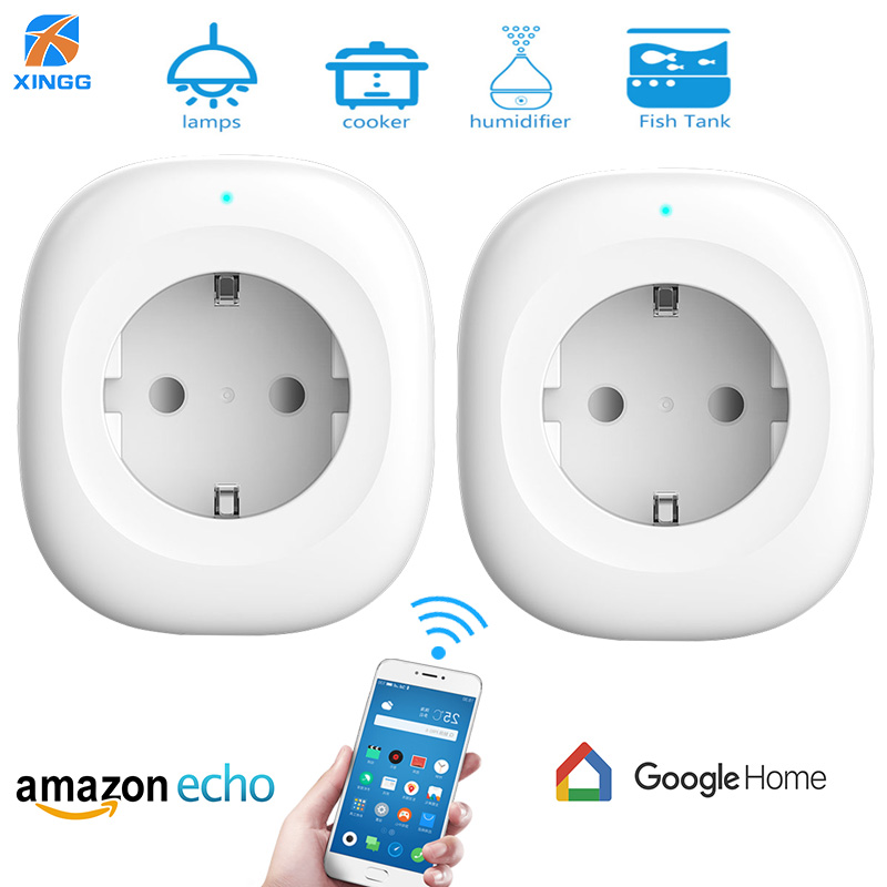 XINGG EU Mini Energy Monitor Smart Wifi Power Socket Intelligent Wireless Switch Plug Outlet Works with Alexa echo Google Home