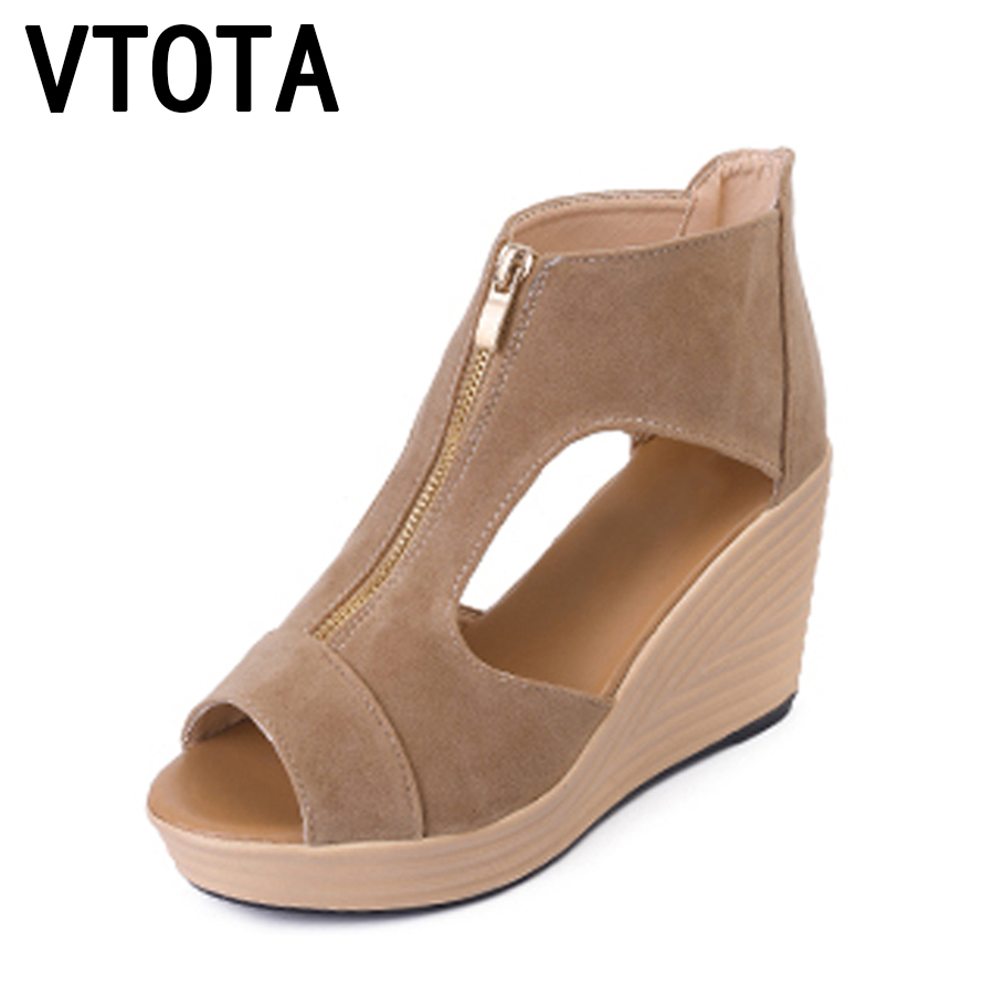 VTOTA Summer Shoes Woman Platform Sandals Women Soft Leather Casual Peep Toe Gladiator Wedges Women Shoes zapatos mujer A89 wedges gladiator sandals 2017 new summer platform slippers casual bling glitters shoes woman slip on creepers