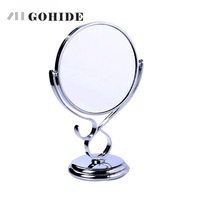 JUH A New Style Double Faced Large Desktop Makeup Bathroom Mirror Metal Paint Separated Mirror And Frame Round Mosaic Mirror