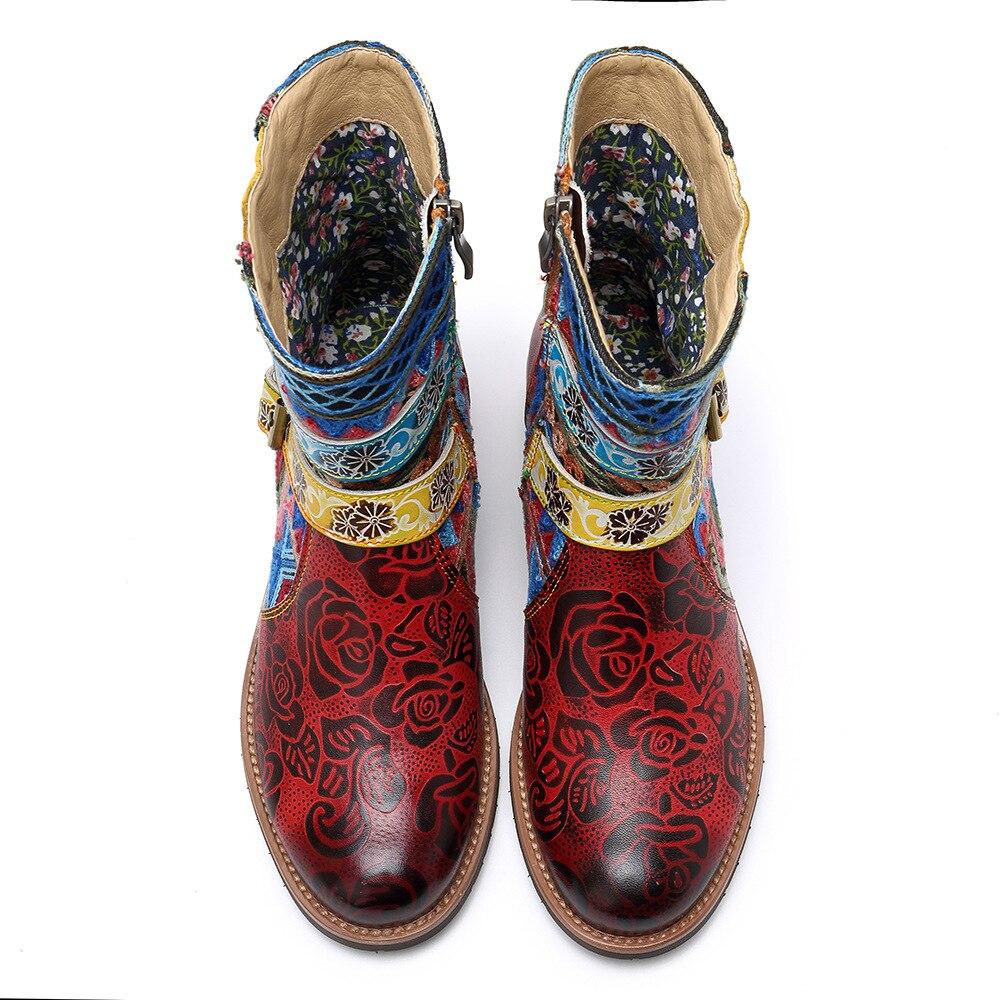 Nacional Flor Zip De Zapatos Otoño Para Genuino Cuero Botas Rojo Nuevos Las Mujer Mujeres Señoras Bohemia Tobillo Johnature 2019 Hebilla TdRRq