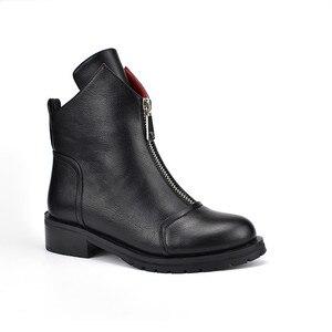 Image 2 - MORAZORA 2020 yeni moda ayakkabılar kadın yarım çizmeler basit fermuar rahat botlar kare topuklu sonbahar kış çizmeler