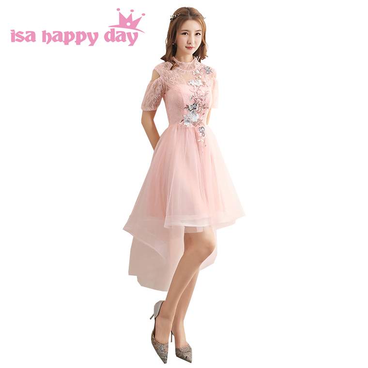 light pink short front long back high low tulle elegant 0 neck prom dresses 2019 with sleeves miss sexy dress for girls H4256