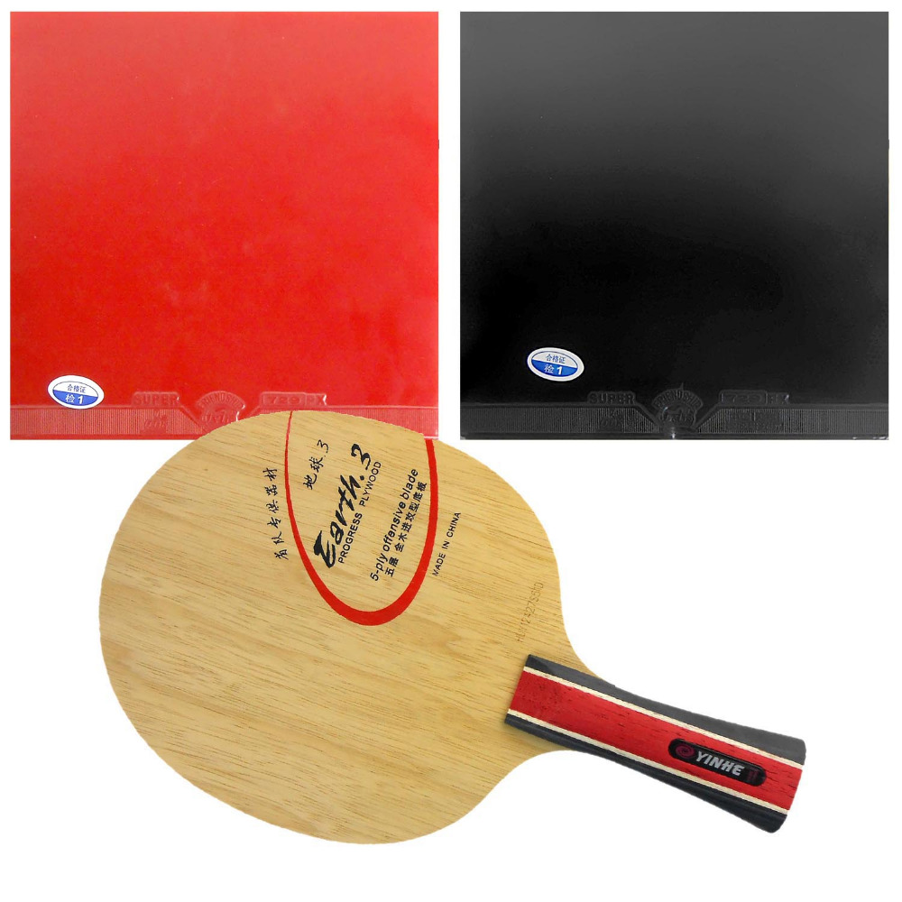 Pro Table Tennis/ PingPong Combo Racket: Galaxy YINHE Earth.3 Blade with 2x 729 Super FX Rubbers Shakehand Long Handle FL stand collar zip up printed spliced pu jacket