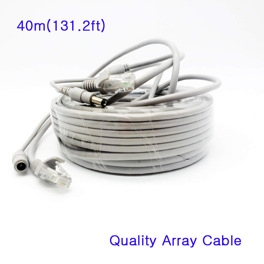 Network Cable 40m 131ft RJ45 Cat5e Ethernet 2 in 1 Power Supply & Network Extension Cable IP Camera Line CCTV System LAN Cord 40m cctv camera cable