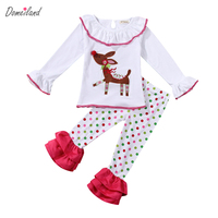 2017 domeiland Autumn Children's Girl Clothing Boutique Outfits Sets Christmas Deer 2Pcs Long Sleeve T-shirts+Ruffle Pants