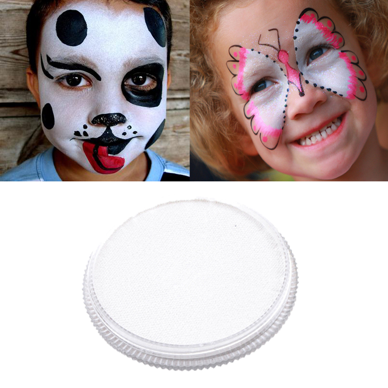 30g White Face Paint Body Painting Safety Drawing Pigment Water-based Face Makeup Cream Paste Party Pumpkin Halloween maquiagem pro rainbow body face paint makeup painting pigment 30g set multicolor series body art for halloween neon uv metallic face paint