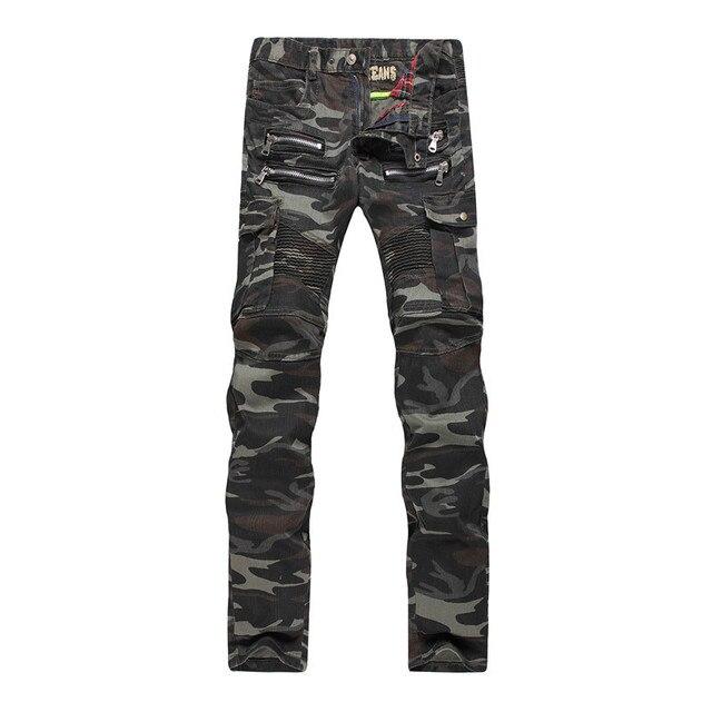 Hommes Camo Biker Militaire Coréenne Vert 2015 Jeans Slim Mode Pieds w78Z4q