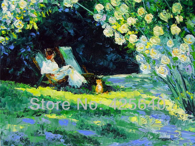 Flower Garden Palette Knife Oil Painting On Canvas Hight Quality Hand Painted  Painting
