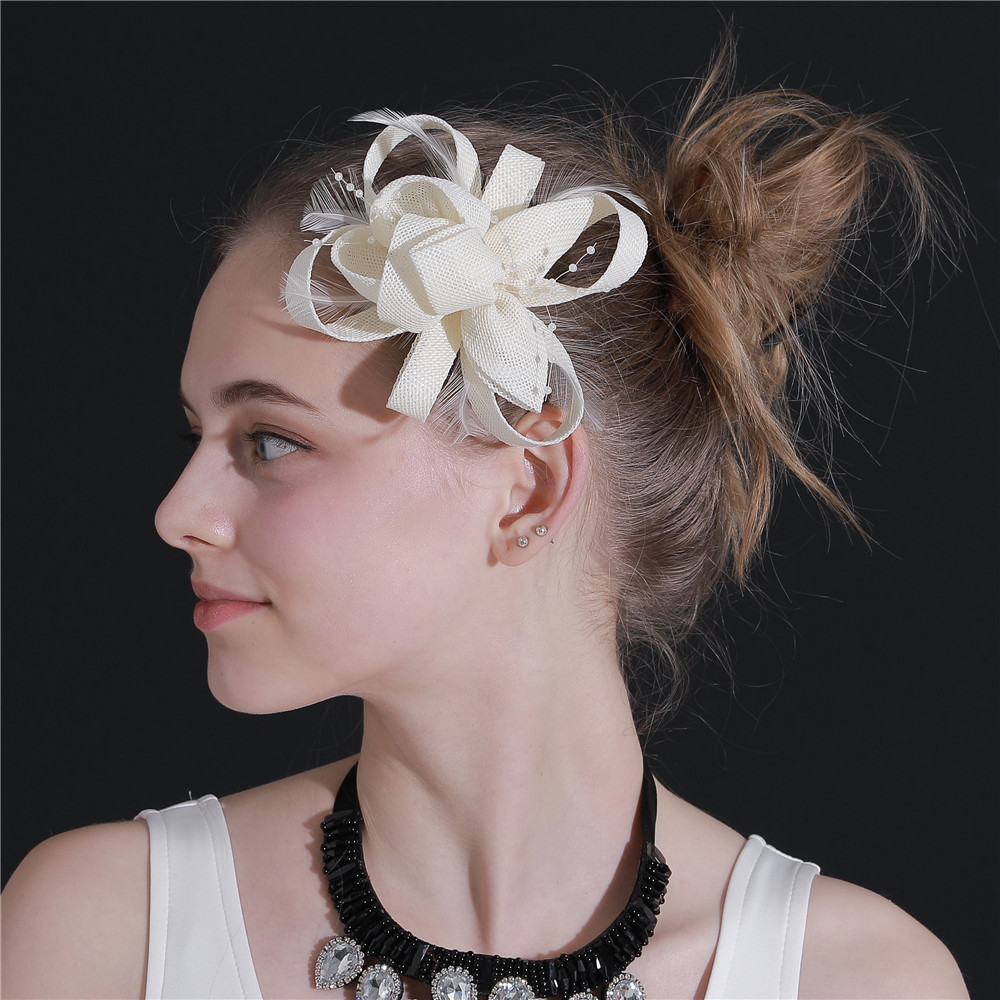 us $8.09 10% off|beige flower hair fascinators hat derby royal headwear veils with loops hair accessory hair clips women ladies wedding headdress-in