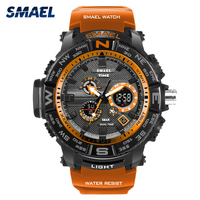 SMAEL Brand Sports Watches Men Multi Functional Chronograph S Shock LED Military Digital Quartz Wristwatches Relogio
